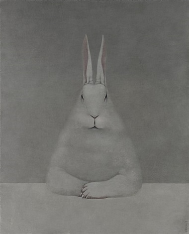 rabbit at desk by shao fan