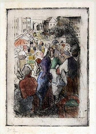marche de gisors (rue cappeville) by camille pissarro