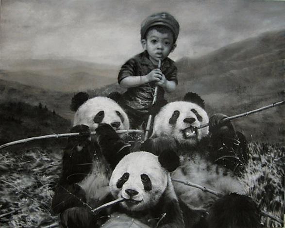 manger avec les panda by li tianbing