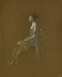 seated lady in a yellow dress by thomas wilmer dewing