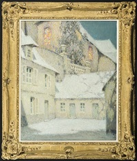 la maison sous l'église, hiver by henri le sidaner