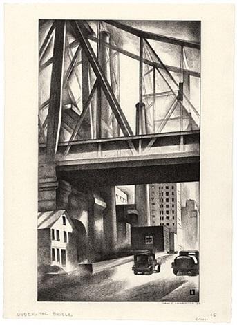 under the bridge by louis lozowick