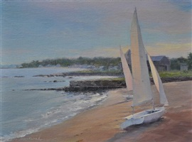 boats on madison beach (sold) by karen blackwood