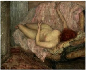 reclining nude by frederick carl frieseke