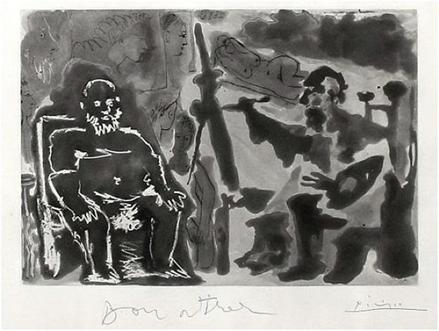 peintre avec modèle barbu assis sur une chaise (bloch 1136) by pablo picasso