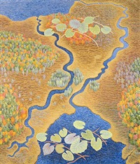 channels (the inlet and outlet of lawry pond, searsmont, me) by yvonne jacquette