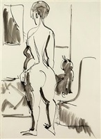 nude with cat by ernst ludwig kirchner