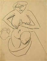 kneeling female nude in bathtub by ernst ludwig kirchner