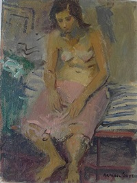 seated young woman by raphael soyer