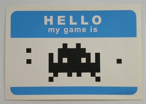 hello my game is . . . (blue) by invader