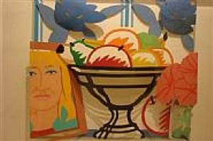 maquette for sl with fruit, petunias and claire by tom wesselmann