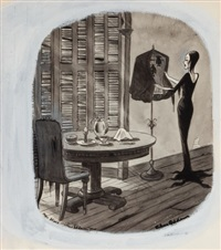 morticia, addams family cartoon by charles addams