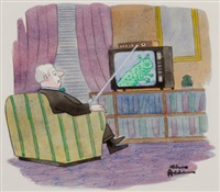 attack of the cable box (cartoon illus.) (for tv guide?) by charles addams