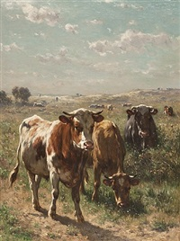 cows in the pasture by johannes hubertus leonardus de haas