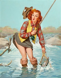 a double catch, louis f. dow calendar company illustration by vaughan alden bass