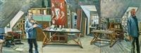 studio with double self-portrait by bernard chaet