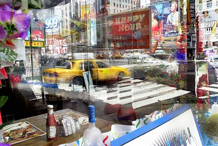 view from the corner table of howard johnson's. times square now. by landon nordeman