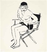 celia in the director's chair by david hockney