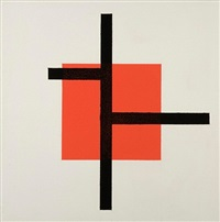 untitled (black lines, red square) by josé de rivera