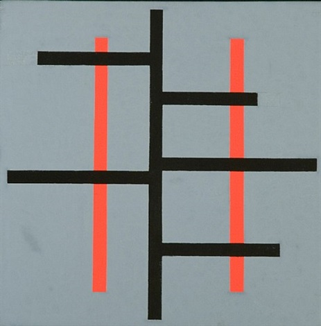 untitled (black and red lines on gray) by josé de rivera