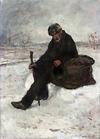 un philosophe (cheminot dans la neige) by jean françois raffaëlli