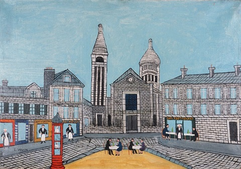 place du theatre (city square with red phone booth) by louis vivin