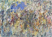 the flying blue cat by larry poons