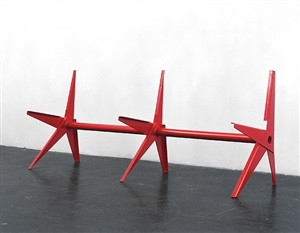 our love is like the flowers, the rain, the seas and the hours (red bench) by martin boyce