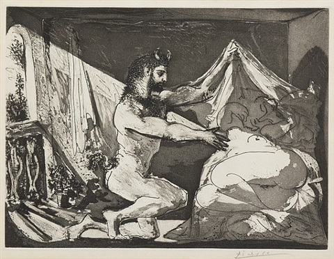 faune devoilant une dormeuse, pl. 27 (from la suite vollard) by pablo picasso