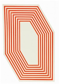 untitled (hexagon fluorescent orange stripes) by barry mcgee