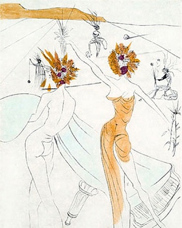 les femmes-fleurs au piano (flower-women at the piano) by salvador dalí