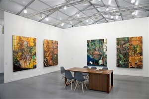 installation view from frieze new york 2012, andrea rosen gallery, booth c28 by elliott hundley