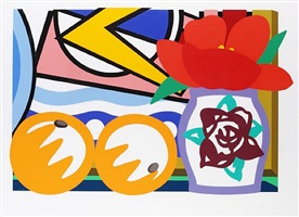 still life with lichtenstein and two oranges by tom wesselmann