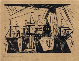 ships at the harbor wharf by lyonel feininger