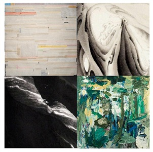 upper left to right:<br />liang quan, <i>tea stain # 5</i><br />hai tao, <i>nimble peaks</i><br />jia you fu, <i>song without a sound</i><br />zhu jin shi , <i>abstract #4</i>