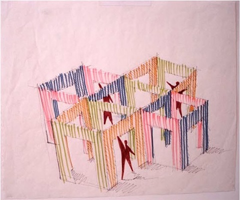study for in situ construction by daniel buren