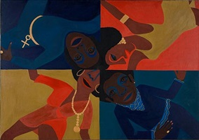 black light series #12: party time by faith ringgold
