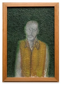 self portrait with green background by richard artschwager