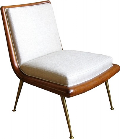 a rare curved back slipper chair by t.h. robsjohn-gibbings