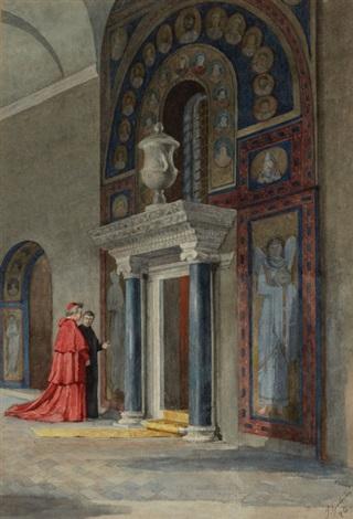 figures in a byzantine church by pietro gabrini