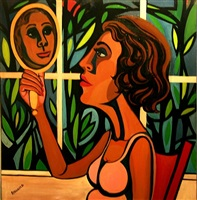 american people series #16: woman looking in a mirror by faith ringgold