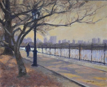 along the reservoir, central park by susan jositas