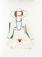 monica crosslegged with beads by tom wesselmann