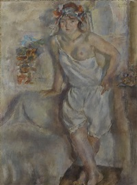 genevieve with a garland of flowers by jules pascin