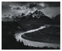 the tetons and the snake river, wyoming by ansel adams