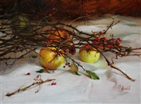 yellow apples and berries (sold) by carol arnold