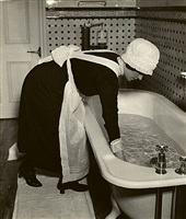 parlourmaid preparing a bath before dinner by bill brandt