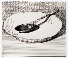 dish and spoon by wayne thiebaud