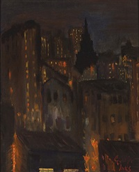new york city scape at night by george benjamin luks