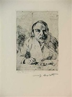 self-portrait, drawing by lovis corinth